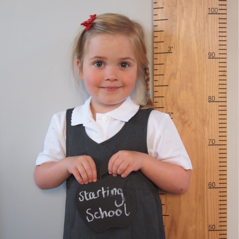 starting school, first day of school, wooden ruler height chart