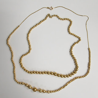 14K Gold Bead and Chain Necklace Pair