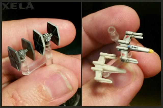 antes y después de los cazas de Star Wars Armada pintados por Xela