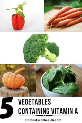 Broccoli Containing Vitamin A, Carrots Containing Vitamin A, Pepper Containing Vitamin A, Spinach Containing Vitamin A