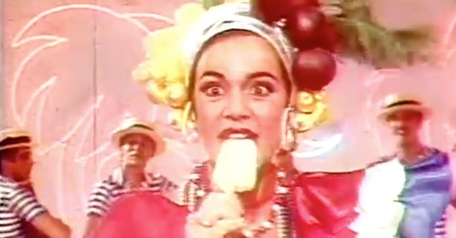 Propaganda antiga da Yopa no final dos anos 70 apresentando seu novo sabor de picolé