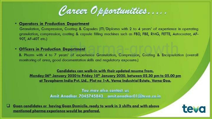 Teva Pharma - Walk in interview for Production, on 6th to 10th Jan 2020