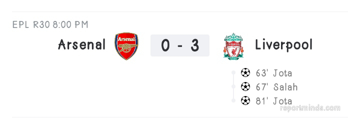 Arsenal lost 3-0 at the Emirates stadium after Diogo Jota scored twice