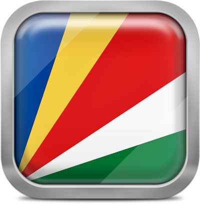 Seychelles square flag with metallic frame