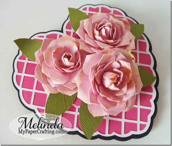 Paper Roses Flowers Dimensional SVG Heart Shaped Easel Valentine Love Card