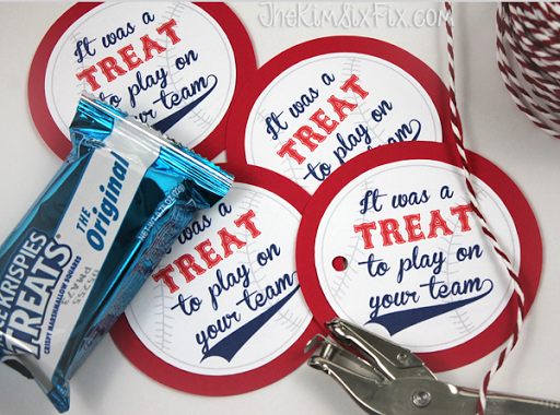 photo about Free Printable Baseball Tags called Rice Krispies Workers Snacks (with Free of charge Printable Present Tags