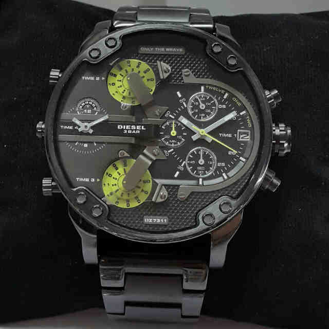 Jual jam tangan DIESEL Gozila 4time black list green  b85bff4bf4