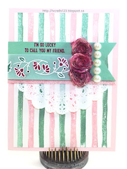Linda Vich Creates: Brushstrokes For A Friend. A pleasing striped background of pink and mint is embellished with colored, Bordering Blooms, roses and pearls.
