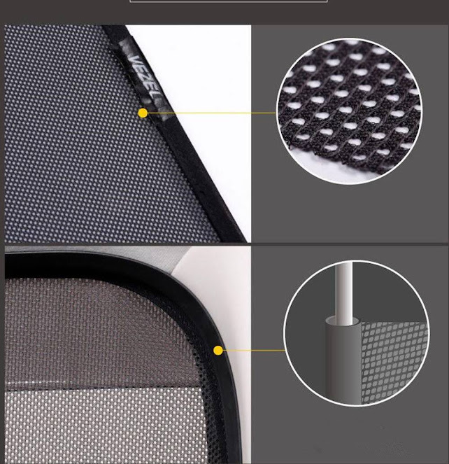 Hearts Pattern 2 Pcs Auto Foldable Front Rear Side Window Sunshade Mesh