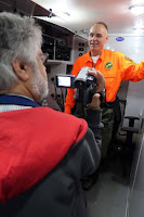 Some photos from the May 11 Sierra Foothills ARC meeting. Meeting program for SFARC was the Placer County Rescue Communications vehicle.  Ron Webb, WE6BB gave a talk, then everyone went outside to do a walk through and examine the van in operation. Shot #3 - Greg, KO6TH takes a video of Ron, WE6BB as he talks about the capabilities of the van. Photos by Mike Perry KK6GLP