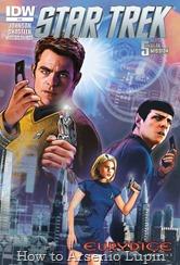 """Actualización 21/11/2016: Actualizo con los numero 43, 44 y 45 de Star Trek Ongoing – Las Nuevas Aventuras por el Almirante Axelorius de la mansión del CRG. Luego de vencer a la criatura conocida como Behemot, la Enterprise queda perdida en un lugar desconocido de la galaxia, totalmente sin combustible, la tripulación de Kirk se vera obligada a sobrevivir en un lugar misterioso, al que la flota estelar le a dado el nombre de """"Cuadrante Delta""""."""