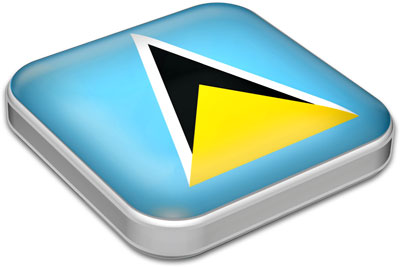 Flag of Saint Lucia with metallic square frame
