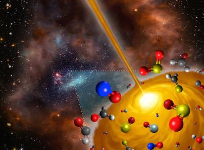 ilustração do núcleo molecular quente descoberto na Grande Nuvem de Magalhães
