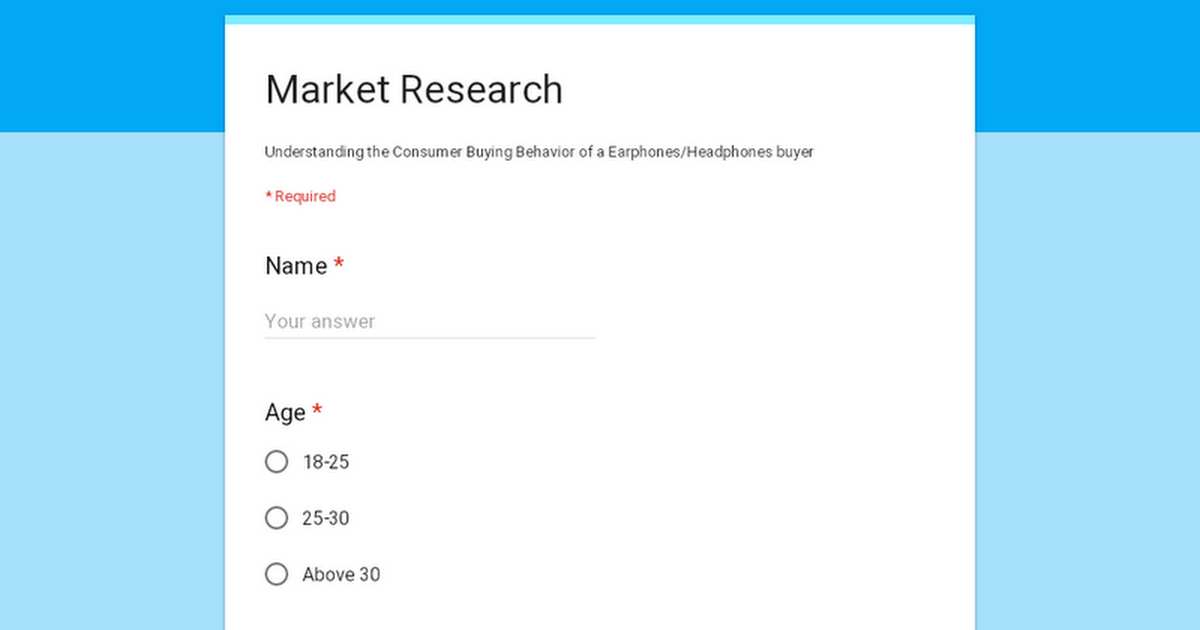 Please help me in Earphone Market Research for my academic Project