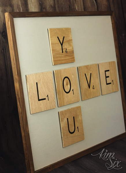 Scrabble tile love you wall art