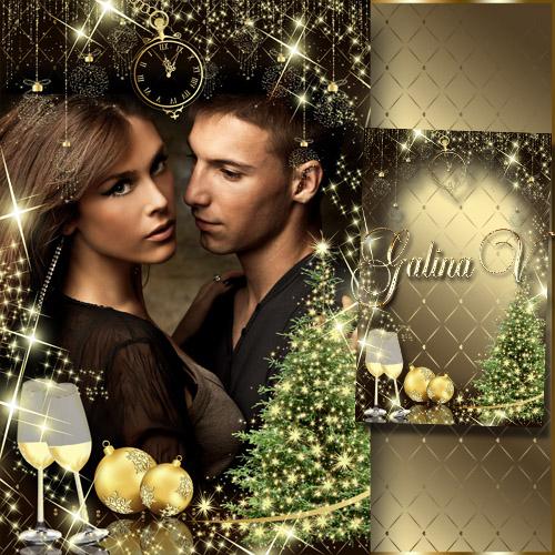 Новогодняя рамка - Волшебный праздник в золотом обличии