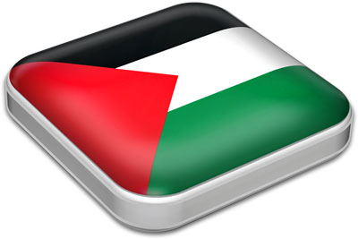 Flag of Palestine with metallic square frame