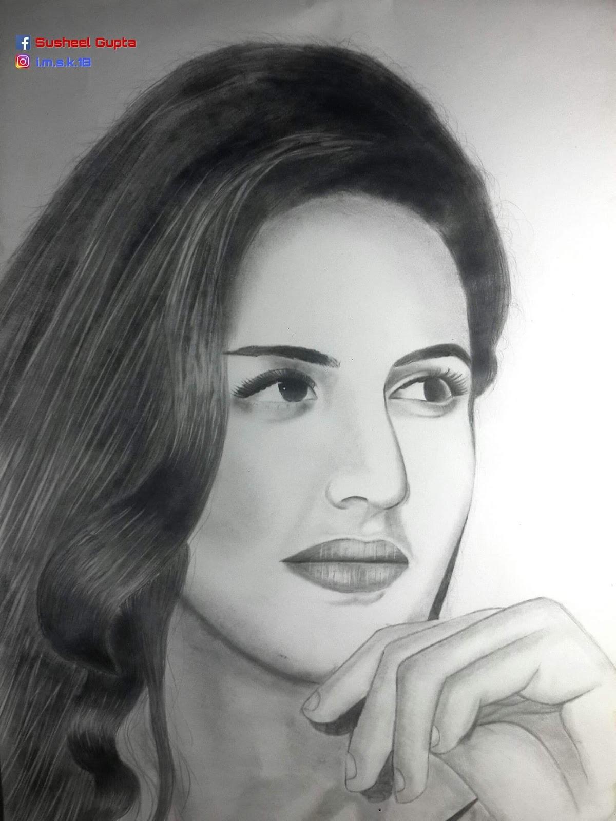 Katrina kaif pencil sketch