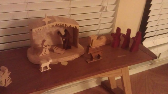 The manger set up on my bench Centered... with all of the pieces