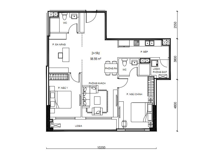 Thông số chi tiết căn hộ 2 phòng ngủ DT: 98,56m2