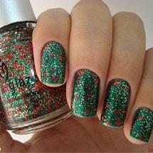 unhas verde decorada com glitter e flocos para o Natal