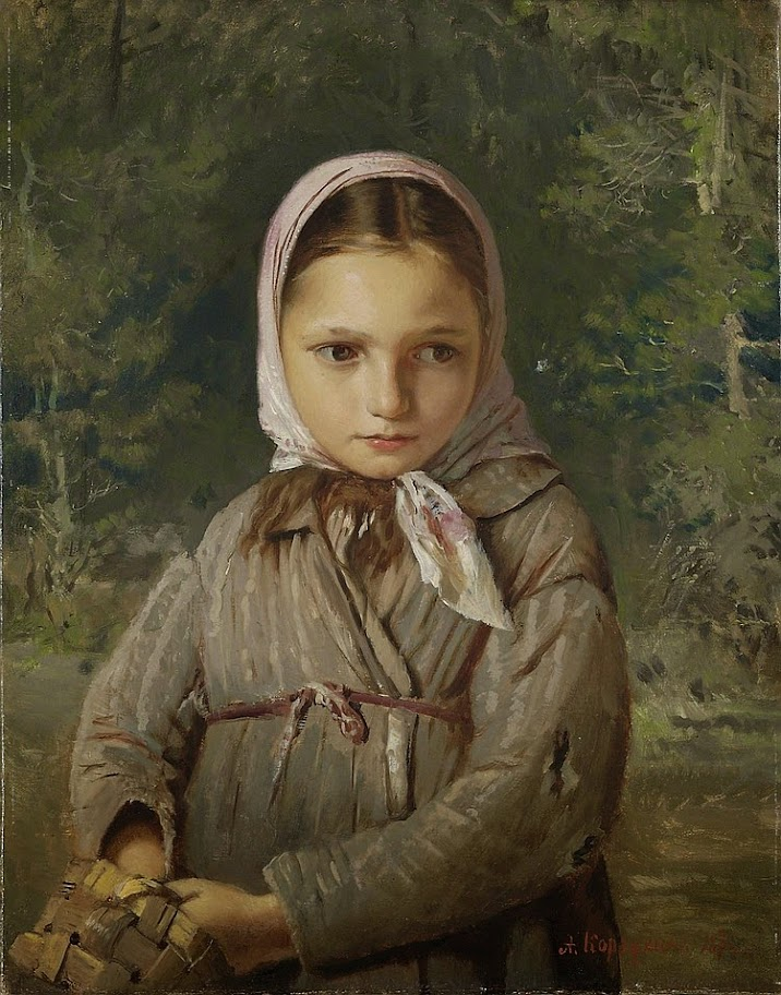 Alexey Korzukhin - Portrait Of A Young Girl In A Headscarf