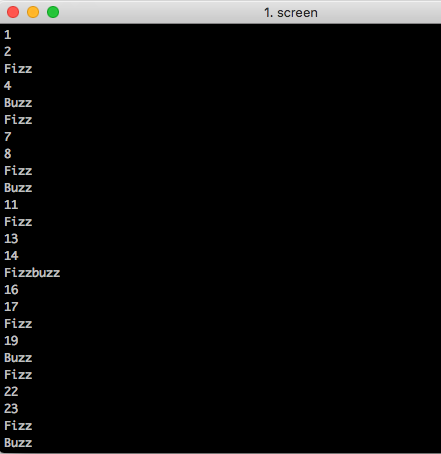 First page of output from the FizzBuzz FPGA, as displayed by the screen terminal emulator.
