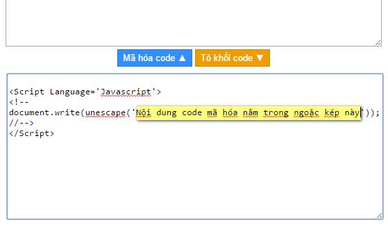 Tool mã hóa ký tự giấu source code HTML