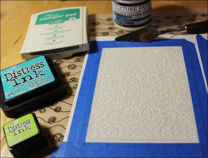 Embossing Paste Perfect Pearls Distress Ink Tim Holtz Stencil Stampin Up Love you Lots Frog Card 04