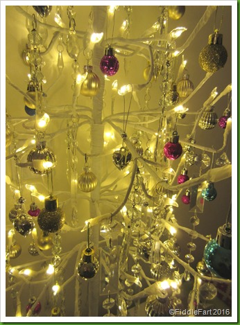 White Branch Christmas Tree with jewelled glass chandalier drops