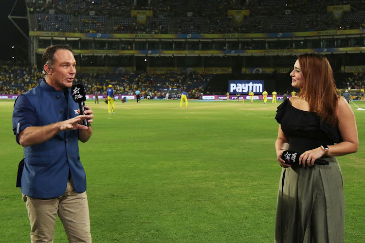 Michael Slater and Mayanti Langer during a television crossing in the Vivo Indian Premier League at the Maharashtra Cricket Association Cricket Stadium, Pune