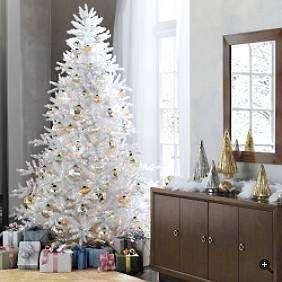 6 1/2 Ft Tall White Winter Pine Lighted 400 Clear Lights Christmas Tree Only & Stand