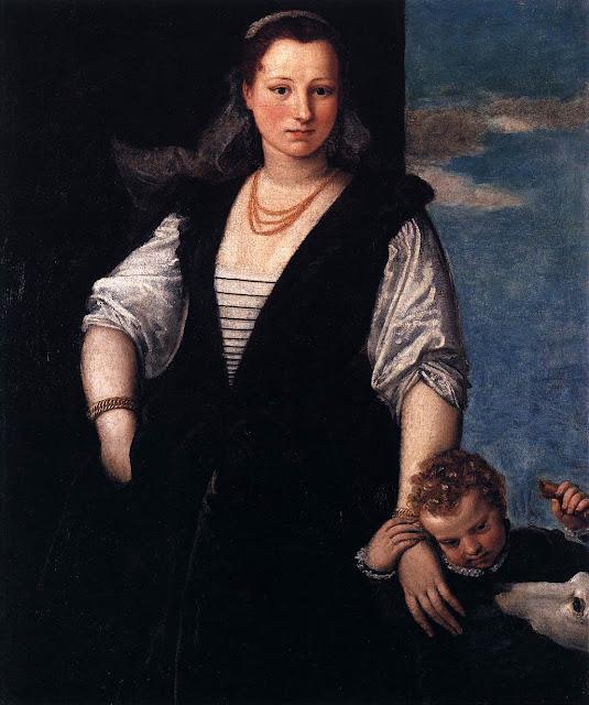 Paolo Veronese - Portrait de femme avec un enfant et un chien