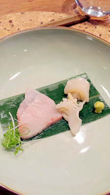 Sashimi course that includes Amberjack, Giant Clam, and Sea Scallop with aged soy and fresh wasabi at Nodoguro SupaHardCore May 29, 2016