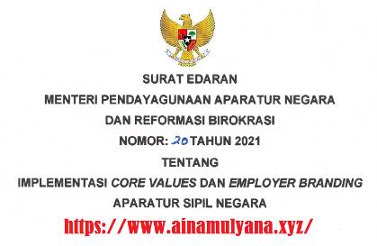 Surat Edaran SE Menpan RB Nomor 20 Tahun 2021 Tentang Implementasi Core Values Dan Employer Branding ASN (Aparatur Sipil Negara)