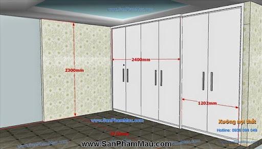 <strong><em>Tủ âm tường màu trắng kết hợp cửa lùa và cửa mở</em></strong>-4