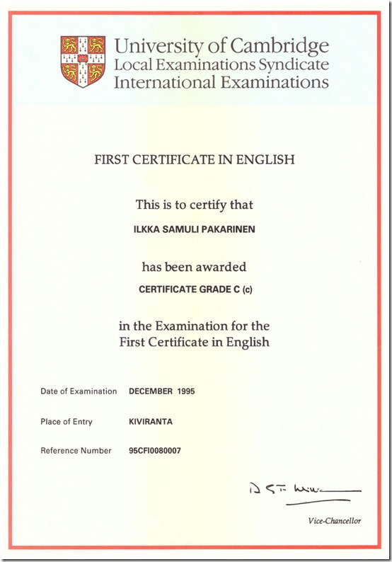 First Certificatte in English © Yelling Rosa