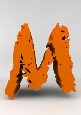 lettre 3D chiffron de craie orange - M - images libres de droit