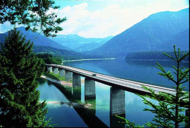 Bridge at Lake Sylvenstein. Driving the Alpine Road in Germany