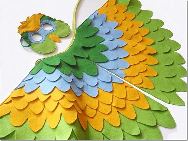 disfraz de pajaros, buhos cisnes con poncho (4)
