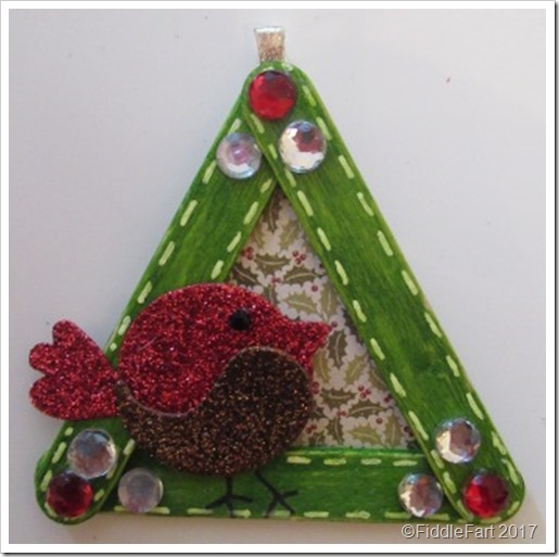 Craft STick Robin Christmas Tree Decoration