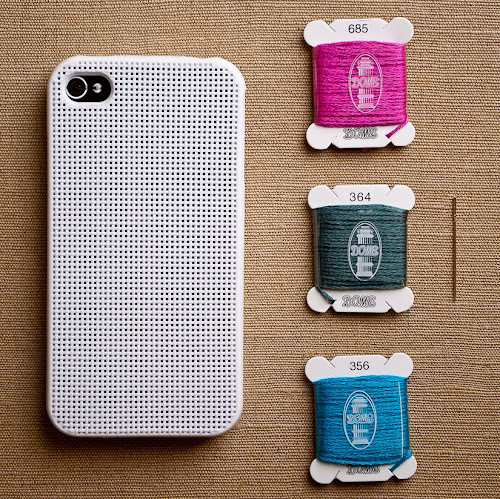 cross-stitch iPhone case with thread