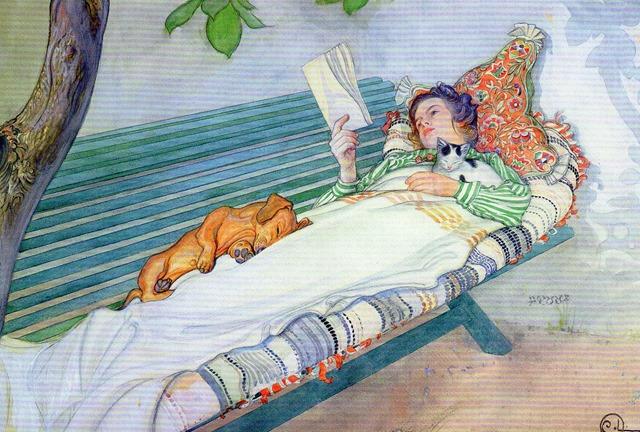 Lesende Frau auf einer Gartenbank liegend, 1913