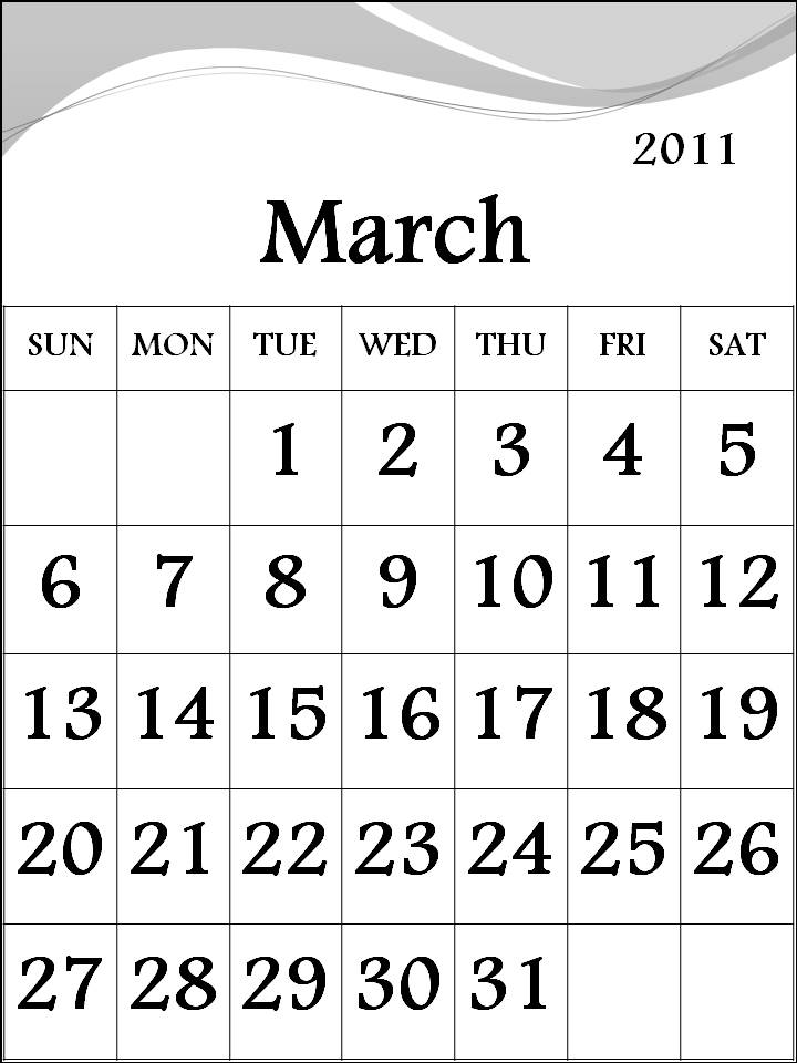 monthly calendar march. monthly calendar march
