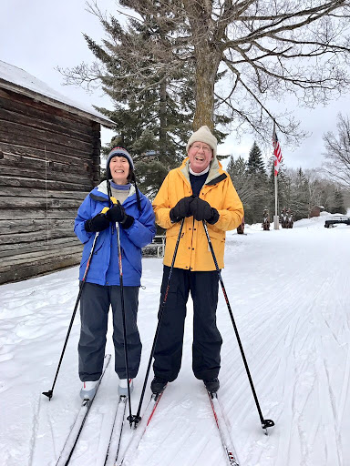 Barb and Tran enjoying fresh snow Monday morning. We didn't reset the classic tracks with the tracks in good shape on many trails and the new snow making for nice conditons.