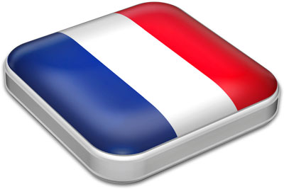 Flag of France with metallic square frame