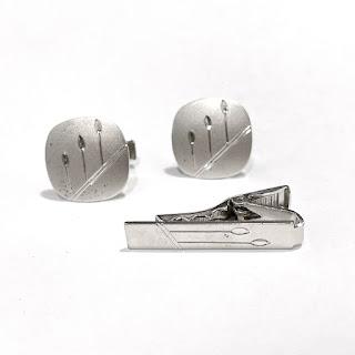Sterling Silver Cufflinks & Tie Clip Set