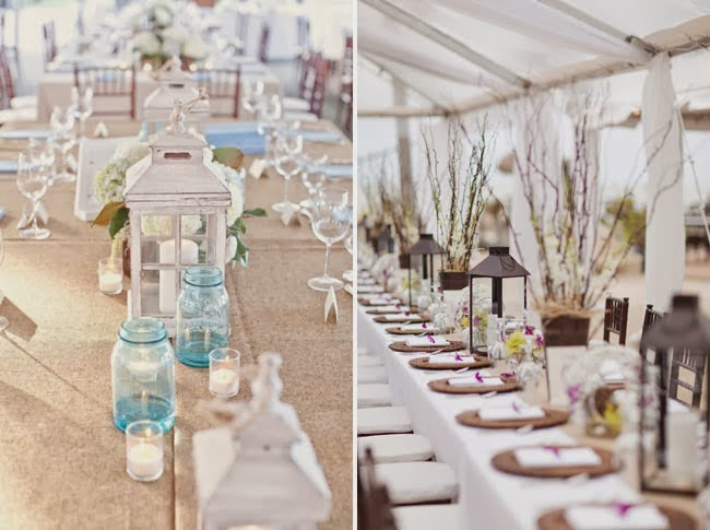 Lanterns On Long Tables For Wedding Reception