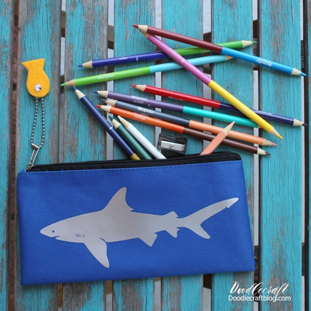 shark week crafts art projects kids fun back to school pencil case bag with htv vinyl great white shark diy doodlecraft (2)