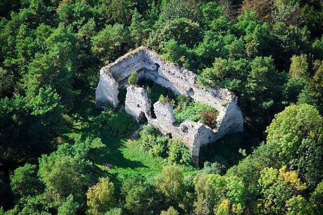 zamek bydlin z lotu ptaka